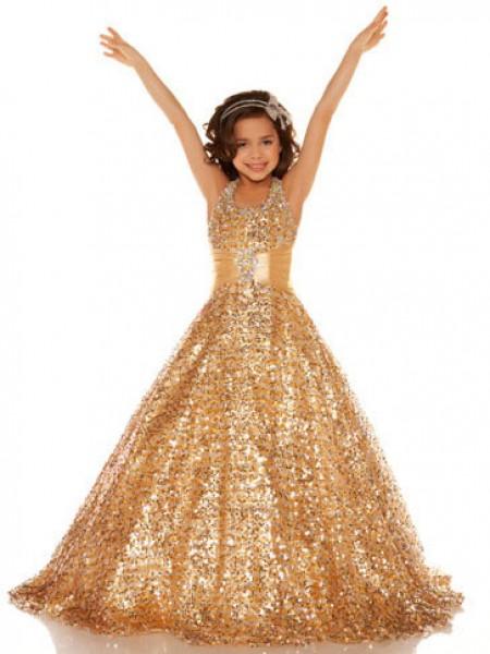 A-line/Princess Halter Flower Girl Dress with Sequins
