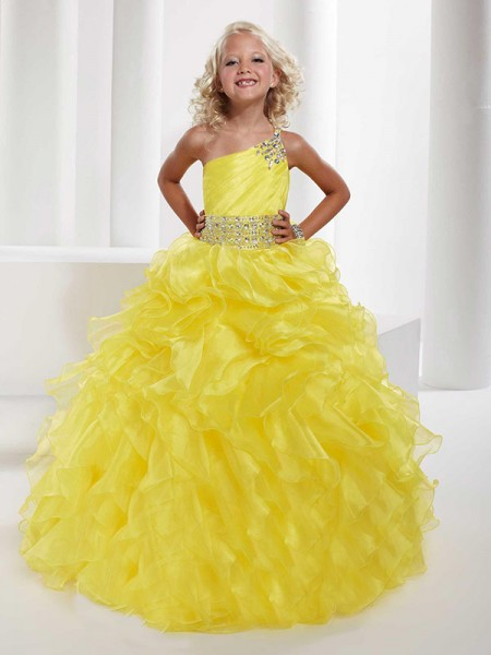 Ball Gown One-shoulder Beading Flower Girl Dress with Organza