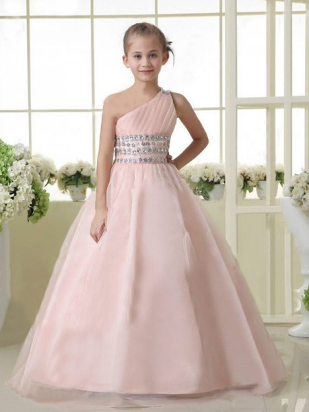 A-line/Princess One-shoulder Beading Flower Girl Dress with Organza