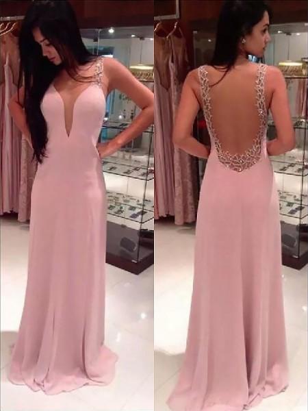 A-line/Princess Straps Floor-length Chiffon Dress
