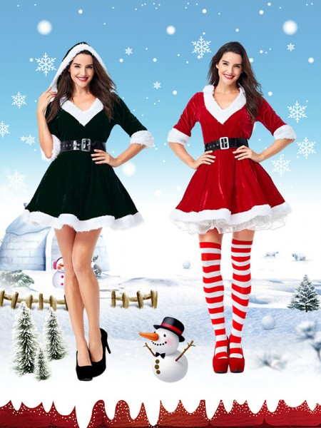 Stunning Polyester With Belt Christmas Clothes