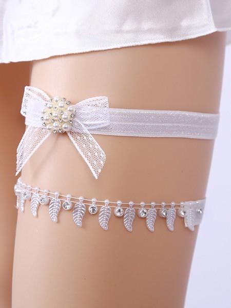 Awesome Bridal/Feminine Lace With Rhinestone/Imitation Pearl Garters