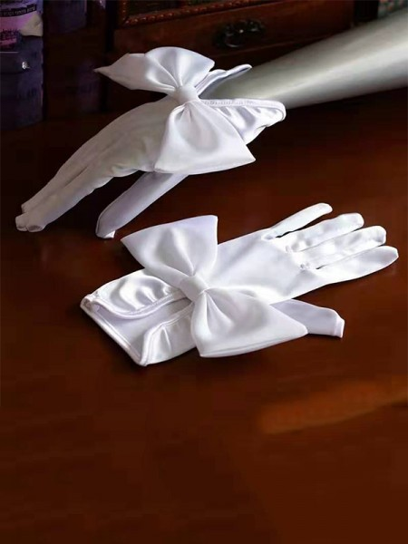 Fancy Cloth Bowknot Wedding Gloves