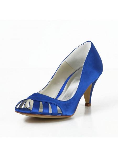 Satin Cone Peep Toe Pumps High Heels S4594941