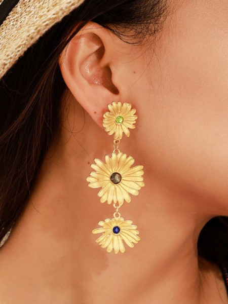 Fresh Sunflower Rhinestone Alloy Long Earrings