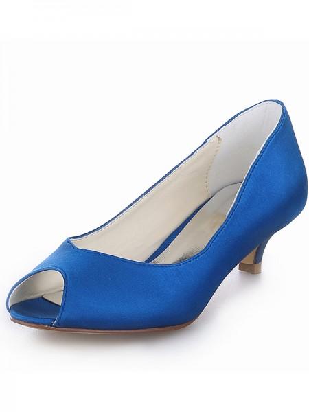 Kitten Satin Peep Toe High Heels SW1011141I