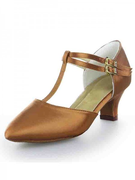 T-Strap Satin Kitten High Heels SW115009641I