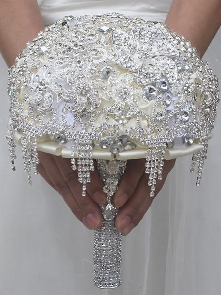Charming Round Satin Bridal Bouquets