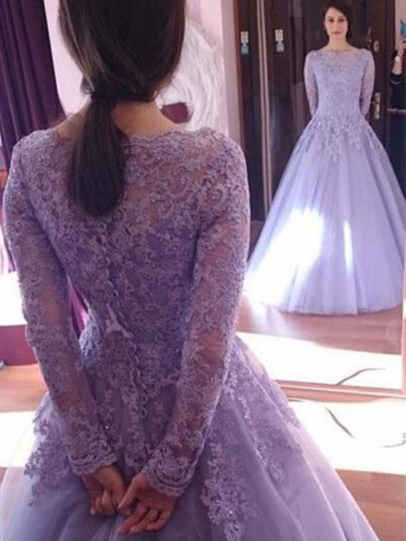 Ball Gown Jewel Long Sleeves Floor-Length Tulle Dresses