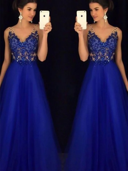 A-Line/Princess V-neck Sleeveless Floor-Length Applique Tulle Dresses