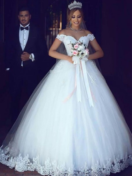 Ball Gown Sleeveless Off-the-Shoulder Floor-Length Lace Tulle Wedding Dresses