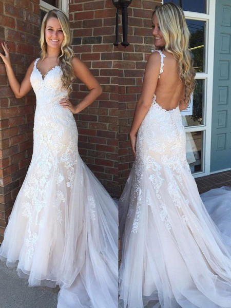 Trumpet/Mermaid V-neck Sweep/Brush Train Sleeveless Applique Tulle Wedding Dresses