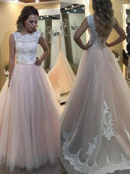 A-Line/Princess Bateau Sweep/Brush Train Sleeveless Lace Tulle Dresses