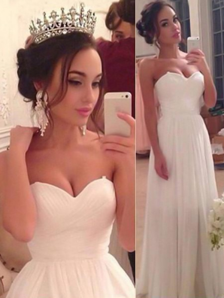 A-Line/Princess Sweetheart Sleeveless Floor-Length Ruffles Chiffon Wedding Dresses