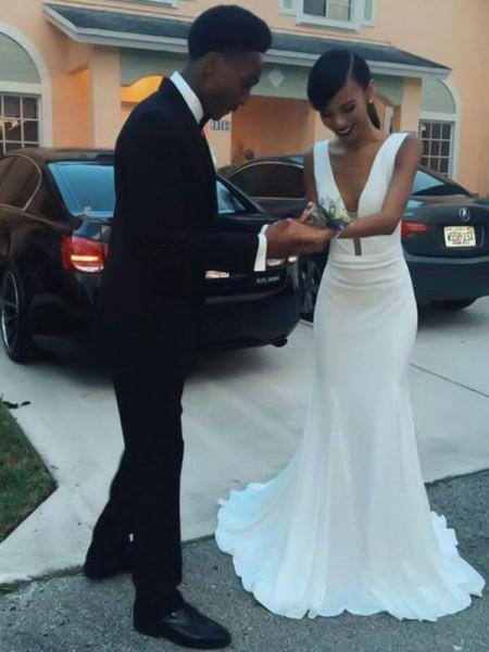 Sheath/Column V-neck Sweep/Brush Train Sleeveless Ruffles Satin Wedding Dresses