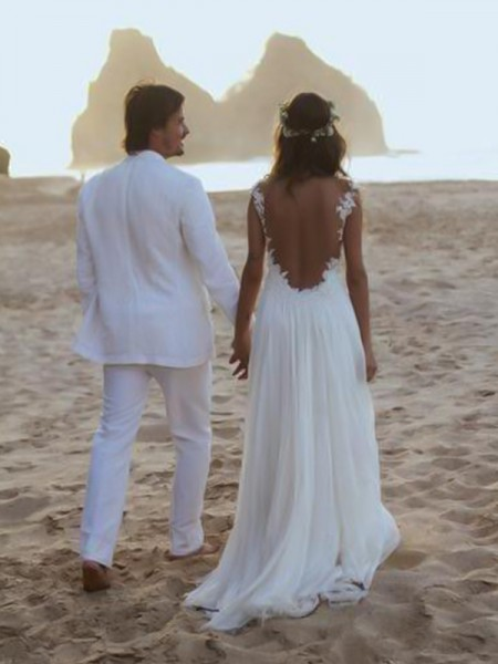A-Line/Princess Spaghetti Straps Sweep/Brush Train Sleeveless Lace Chiffon Wedding Dresses