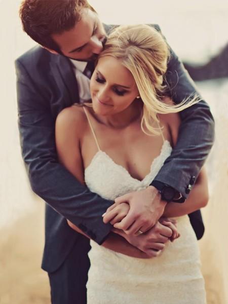 Sheath/Column Spaghetti Straps Sweep/Brush Train Sleeveless Ruffles Lace Wedding Dresses