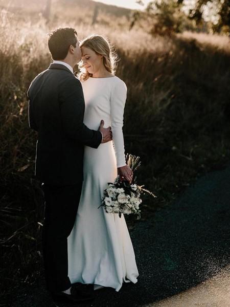 Sheath/Column Jewel Long Sleeves Floor-Length Ruffles Elastic Woven Satin Wedding Dresses