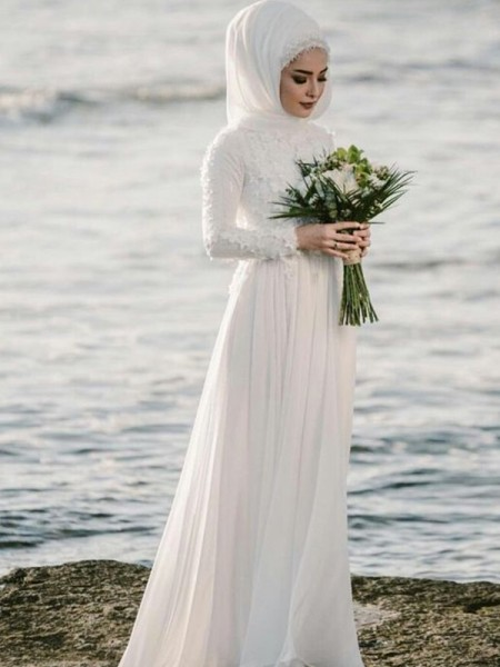 A-Line/Princess Jewel Long Sleeves Floor-Length Chiffon Wedding Dresses