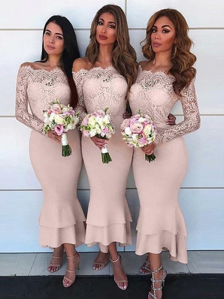 Sheath/Column Off-the-Shoulder Long Sleeves Ankle-Length Jersey Bridesmaid Dresses