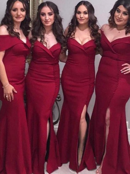 Sheath/Column Sleeveless Off-the-Shoulder Floor-Length Satin Bridesmaid Dresses
