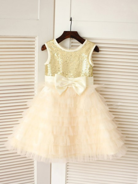 A-line/Princess Sleeveless Scoop Bowknot Long Tulle Dresses