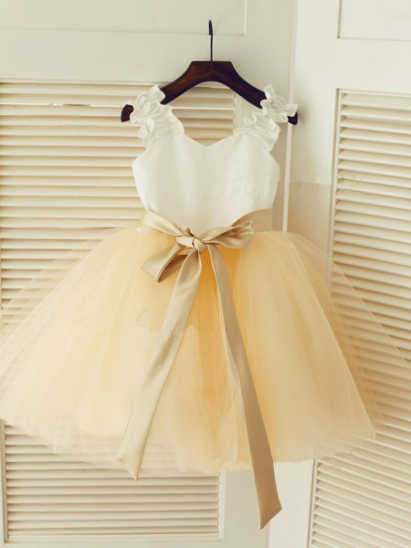 Straps Ball Gown Sleeveless Long Tulle Dresses