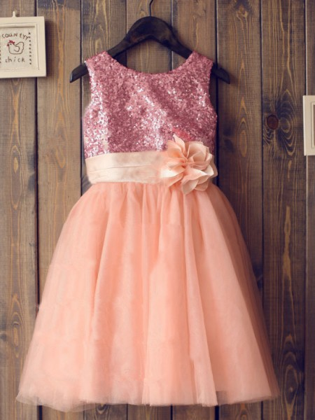A-line/Princess Sleeveless Scoop Sequin Knee-Length Tulle Dresses