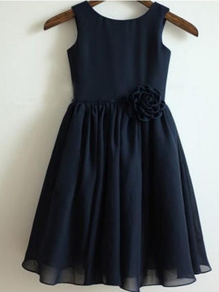 A-line/Princess Sleeveless Scoop Hand-Made Flower Tea-Length Chiffon Dresses