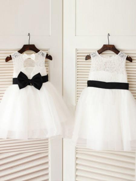 A-line/Princess Sleeveless Scoop Bowknot Knee-Length Tulle Dresses