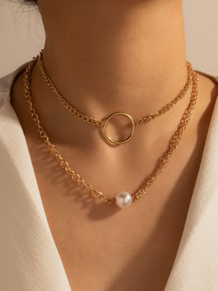 New Style Alloy With Imitation Pearl Necklaces