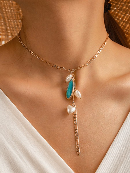 Fashionable Alloy With Imitation Pearl Necklaces For Women