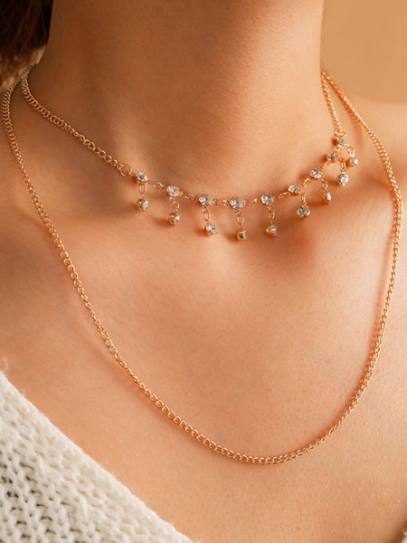 Particular Alloy With Rhinestone Necklaces