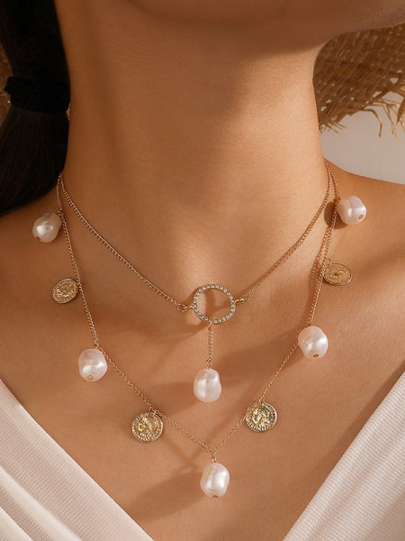 Extraord Alloy With Pearl Necklaces