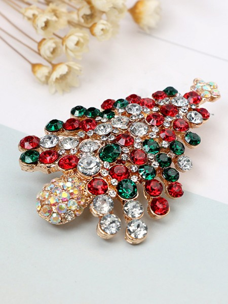 Christmas Luxurious Alloy With Christmas Tree Brooches