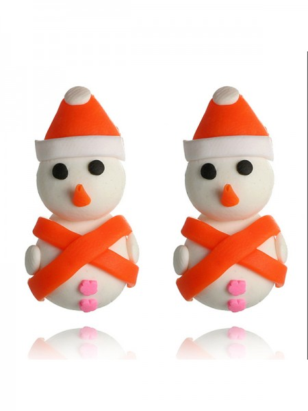 Christmas Charming Clay With Snowman Earrings