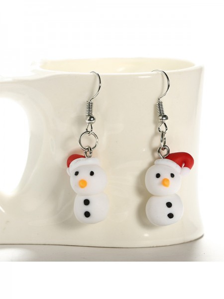 Christmas Fascinating Clay With Snowman Earrings
