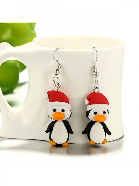 Christmas Stunning Clay With Penguin Earrings