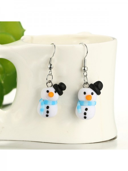 Christmas Fashion Clay With Snowman Earrings
