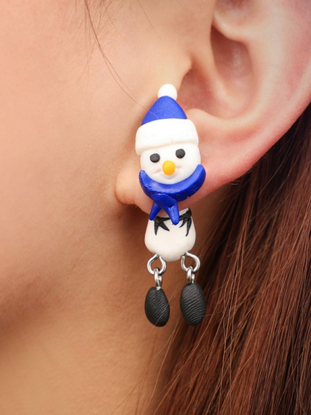 Christmas Pretty Clay With Snowman Earrings