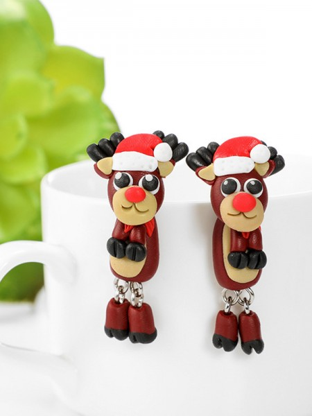 Christmas Exquisite Clay With Wapiti Earrings
