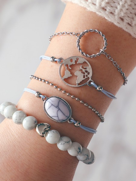 Chic Alloy With Beads Bracelets(5 Pieces)