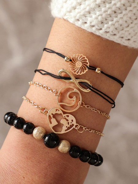 Amazing Alloy With Beads Bracelets(5 Pieces)
