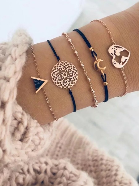 Fascinating Alloy With Heart/Moon Bracelets(5 Pieces)