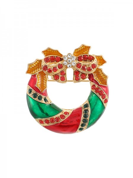 Christmas Trendy Alloy With Rhinestone Brooches