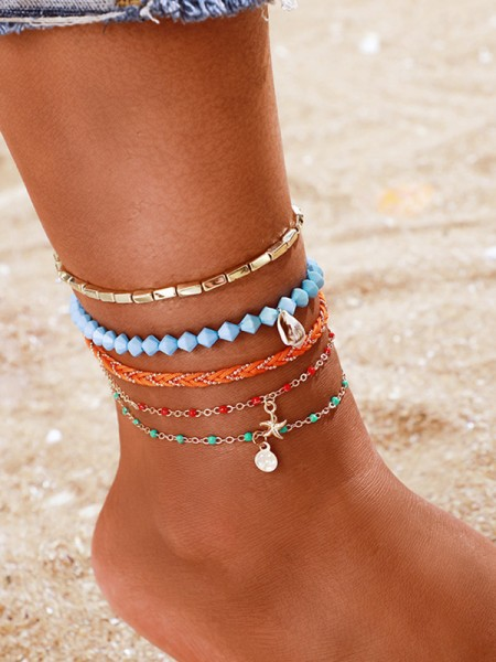 Gorgeous Alloy With Shell/Starfish Anklets(5 Pieces)