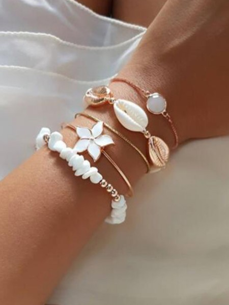 Brilliant Alloy With Shell Bracelets(5 Pieces)