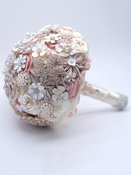 Delicate Round Satin Bridal Bouquets