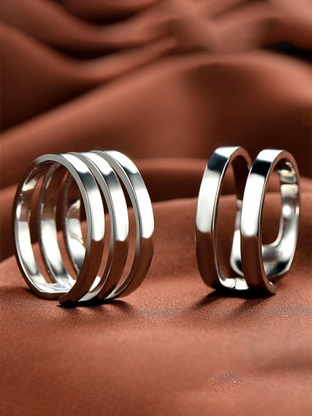 Unique 925 Sterling Silver Adjustable Couple Rings
