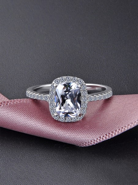 Graceful S925 Silver With Zircon Wedding Rings